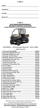 Shiner Business Men's 2018 Big Buck Bonanza Raffle